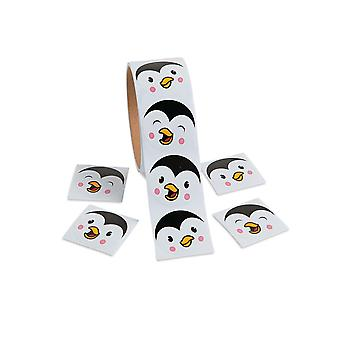 Roll of 100 Christmas Penguin Face Stickers for Kids