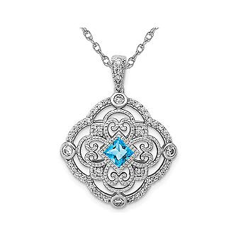 2/5 Carat (ctw) Blue Topaz Pendant Necklace in 14K White Gold with Diamonds and Chain