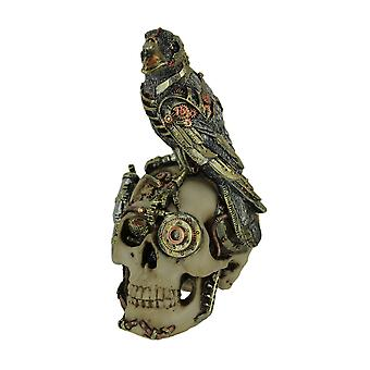 Robot Raven Perched On Steampunk Skull Statue