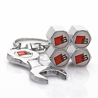 Set of 4 Chrome Anti-Theft Car Tyre Air Dust Valve Stem Cap With Keyring Spanner For Audi Sline