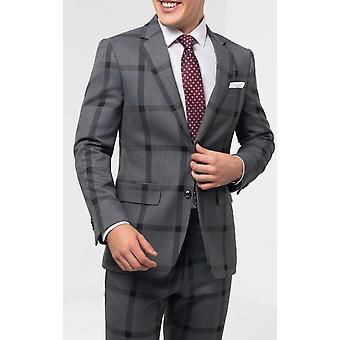 Dobell heren grijs/zwart vet controle pak jas regular fit