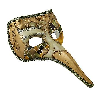 Harlequin Music Jester Zanni Carnivale Venetian Style Long Nose Face Mask