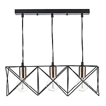 Dar belysning Midi Triple lys Bar vedhæng i Matt Black og kobber
