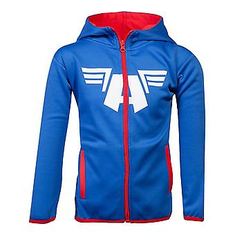 Marvel Captain America Logo Teq Full Length Zipper Hoodie Kids Unisex 110/116