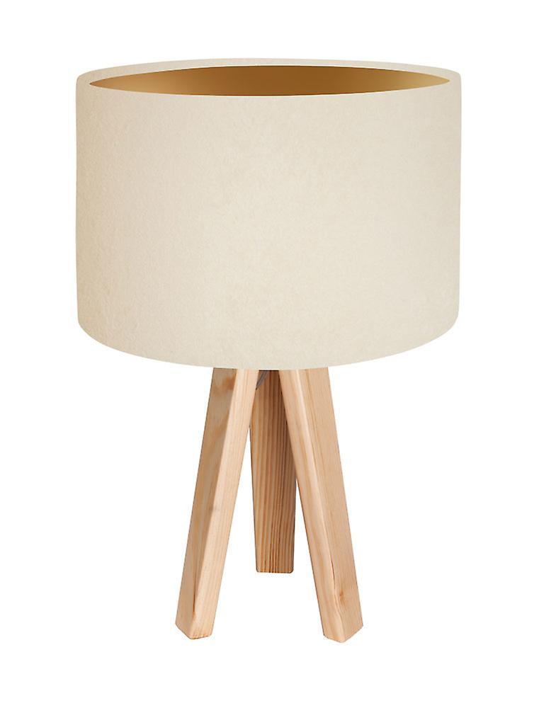 Tabell Lampa Bordslampa Jalua T mocka grädde & guld med stativ trä H: 47 cm 10754