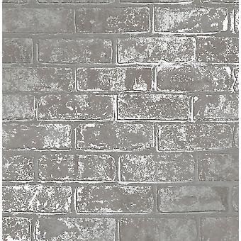 Fine Decor Loft Brick Wall Silver Metallic Effect Gray Fond d'écran