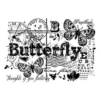 Woodware Clear Singles - Butterfly Collage Stamp Set