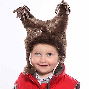 Kids Thermal Fluffy Fur Novelty Winter Hat And Mitt Set Set 3-4 Yrs Brown