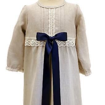 Dopklänning Grace Of Sweden, Lång ärm Och Mörk Blå Bred Rosett