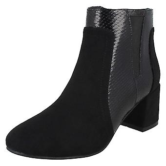 Spot On Womens / Ladies Chunky Heel Panel Ankle Boots Spot On Womens / Ladies Chunky Heel Panel Ankle Boots