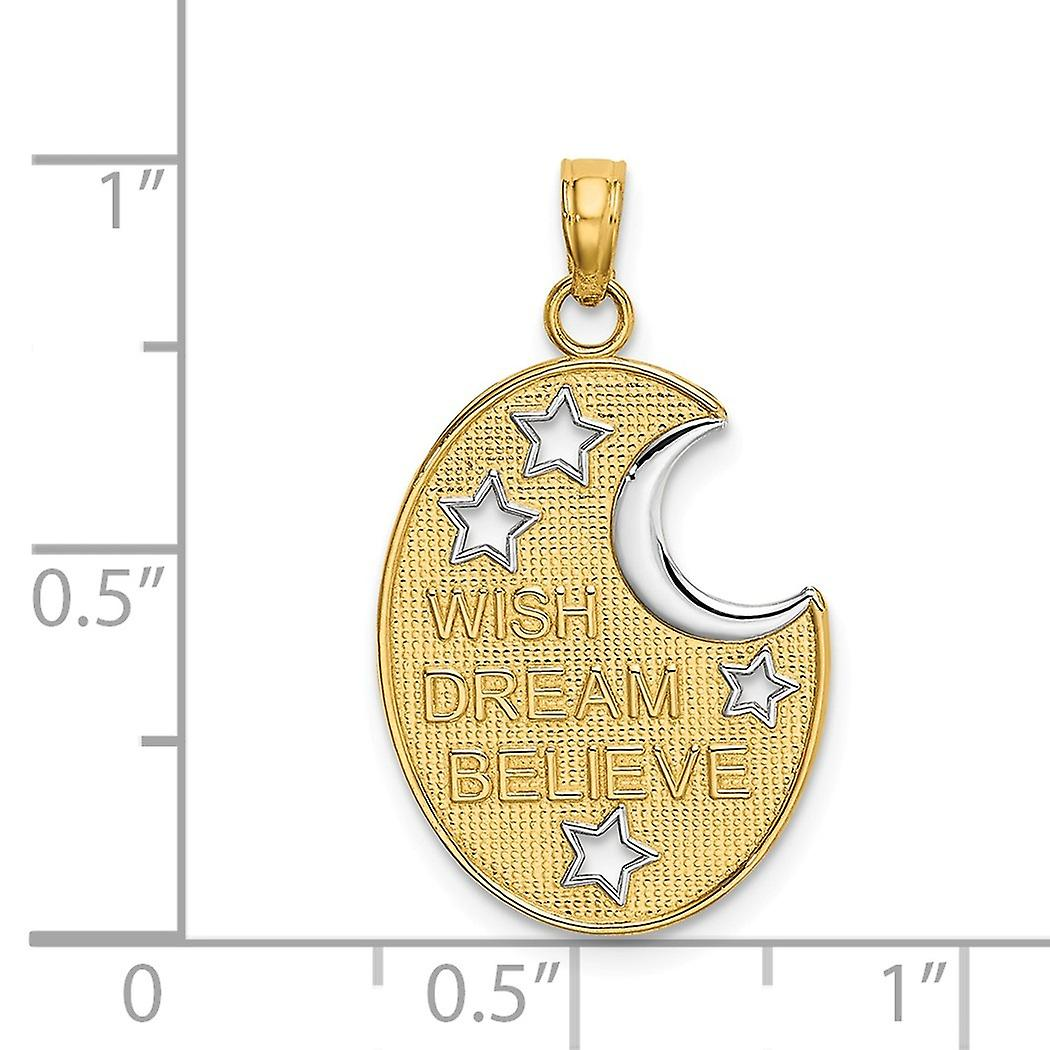 14k Two tone Gold Wish Dream Believe With Cut out White Celestial Moon and Stars Charm Pendant Necklace Jewelry Gifts fo