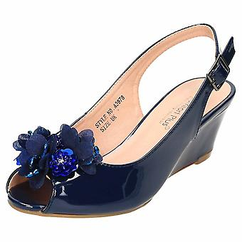 Comfort Plus Navy Wide E Fit Slingback Wedge Peep Toe Patent Shoes