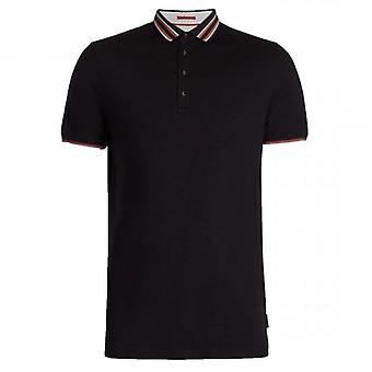 Ted Baker Teacups SS Polo Shirt With Striped Collar Navy