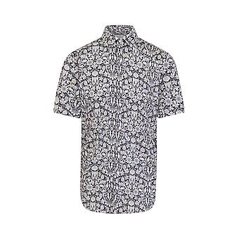 JSS Blue & White Floral Print Regular Fit Short Sleeve Shirt