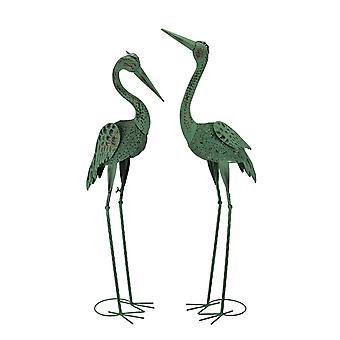 Verdigris Patina Metal Heron Birds Coastal Decor Statue Set of 2