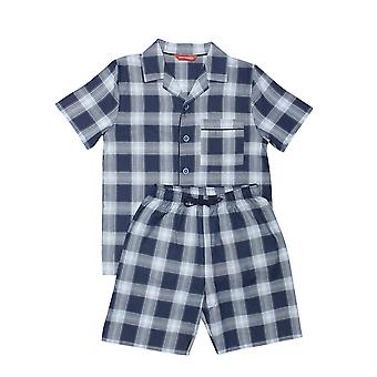Minijammies 6477 Boy's Billy Blue Check Cotton Pyjama Short Set