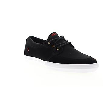 Globe Attic  Mens Black Canvas Lace Up Athletic Skate Shoes