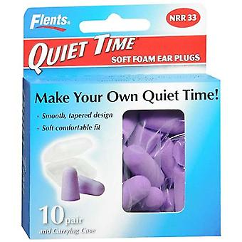 Flents quiet time soft foam ear plugs with carrying case, 10 pairs