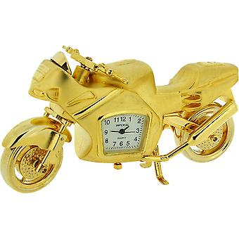 Miniature Novelty Collectors Goldtone Heavy Motorbike Desktop Clock IMP1046