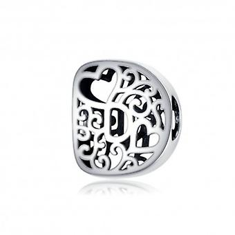Sterling Silver Alphabet Charm With Hearts Letter D - 6258