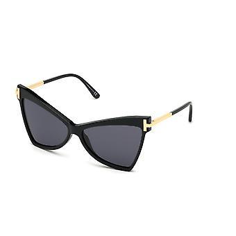 Tom Ford Tallulah TF767 01A Błyszczące czarne/dymne okulary przeciwsłoneczne