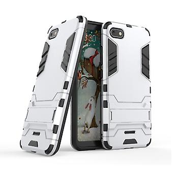HATOLY iPhone SE (2020) - Robotic Armor Case Cover Cas TPU Case White + Kickstand