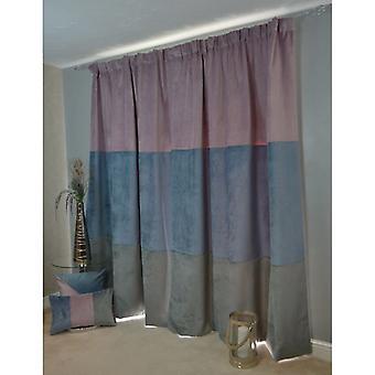 McAlister têxteis patchwork veludo roxo, azul + cinza cortinas