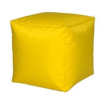Siège cube en nylon jaune grand 40 x 40 x 40 avec remplissage