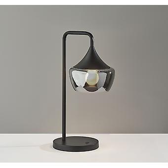 Gnome ahumado vidrio negro metal lámpara de mesa