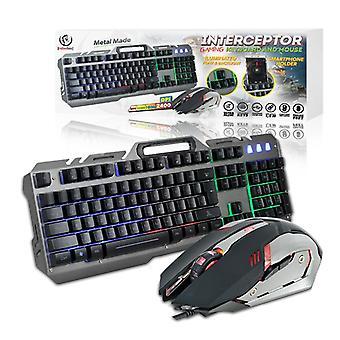 Rebeltec INTERCEPTOR Gaming LED-näppäimistö + optinen hiiri - METALLI