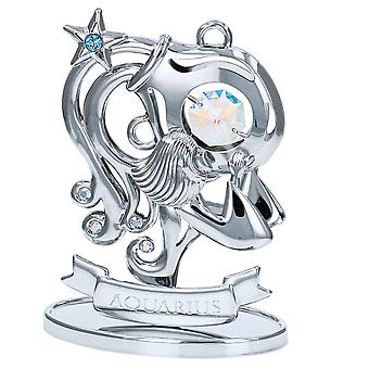 Crystocraft Aquarius Zodiac Sign Crystal Ornament With Swarovski Elements Gift Boxed Aurora Borealis Crystals Silver Chrome Plated Perfect Keepsake Collectors Gift Figurine Home Decor Astrology