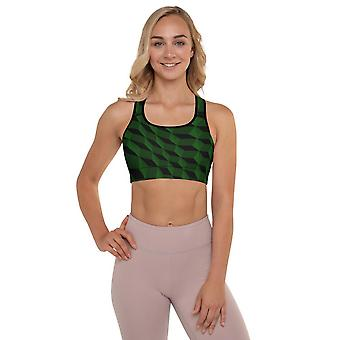 Padded Sports Bra | Abstract in Dark Green