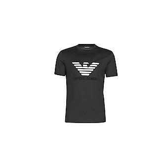 Emporio Armani Cotton Embroidered Logo Black T-shirt