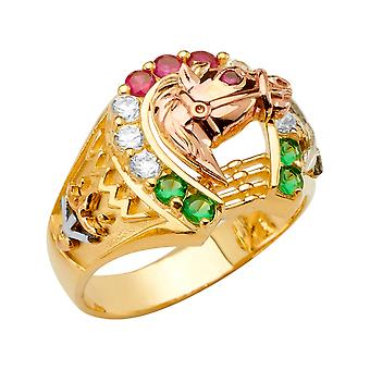 14k Yellow Gold White Gold and Rose Gold Horseshoe Mens CZ Cubic Zirconia Simulated Diamond Ring Size 10 Jewelry Gifts f
