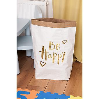 Cesto Be Happy Colore Bianco, Oro in Carta Kraft, Vinile, L50xP15xA60 cm