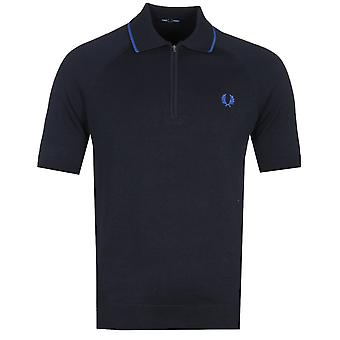 Fred Perry Zip Neck Tipped Navy Polo Shirt