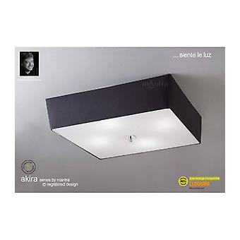 Akira Ceiling Lamp 4 Bulbs E27, Polished Chrome / Frosted Glass With Black Lampshade