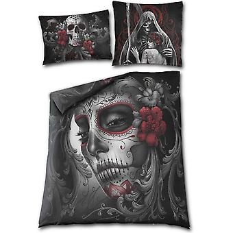 Spiral - skull roses - double sided duvet set - double bed