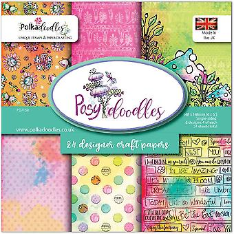 Polkadoodles Posy Doodles 6x6 Inch Paper Pack