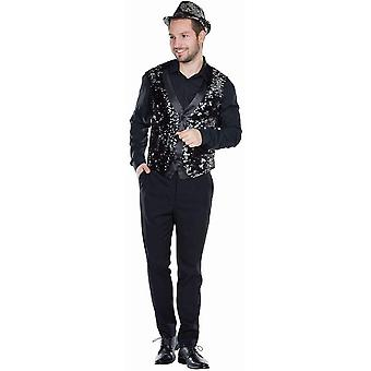 Paljetti liivi musta pailettes miesten liivi dandy glitter liivi karnevaali karnevaali gaala