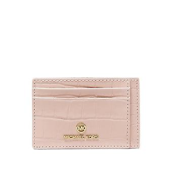 MICHAEL Michael Kors Small Crocodile Embossed Leather Card Case Soft Pink