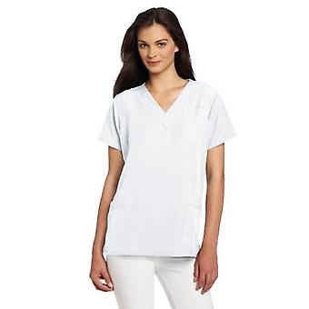 WonderWink Kvinder's Scrubs Four Way Stretch Sporty V-Neck Top, Hvid, X-Large
