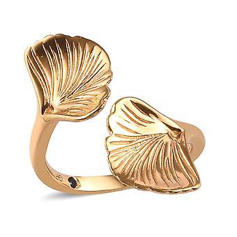 GP Blue Sapphire Bypass Ring for kvinder Sterling Sølv 14ct Forgyldt