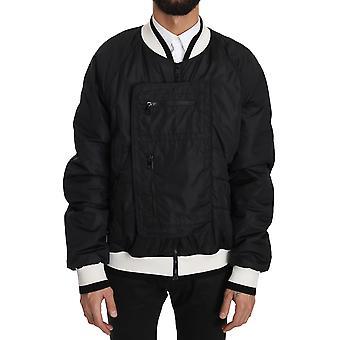 Dolce & Gabbana Black White Nylon Bomber Anorak Jacket JKT2329-56