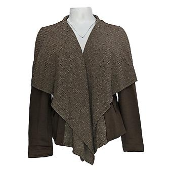 Lisa Rinna Collection Women's Top Rib Knit Drape Front Brown A295849