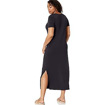 Marka - Daily Ritual Women&s Jersey Crewneck Short Sleeve Maxi Dress with Side Slit, Navy, Small