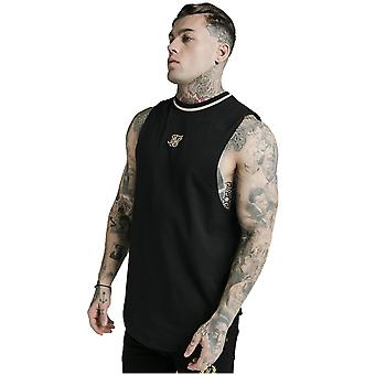 SikSilk Yarn Rib Drop Vest - Black