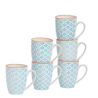 Nicola Spring 6 Piece Hand-Printed Tea and Coffee Mug Set - Japanese Style Porcelain Latte Mugs - Blue - 360ml