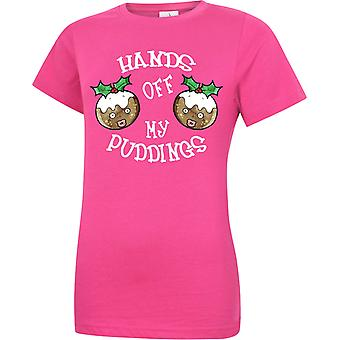 Hands Off My Puddings Christmas Premium 180GSM Womens T-Shirt 5 Colours (XS-2XL) 318 by swagwear