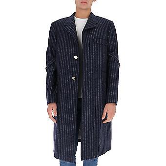 Thom Browne Moc844a06306415 Men's Casaco de Lã Azul